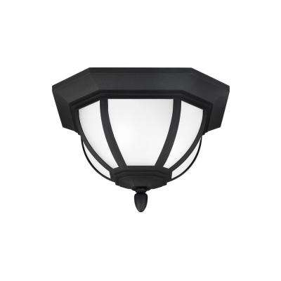 Childress Black 2-Light Outdoor Flush Mount with LED Bulbs
