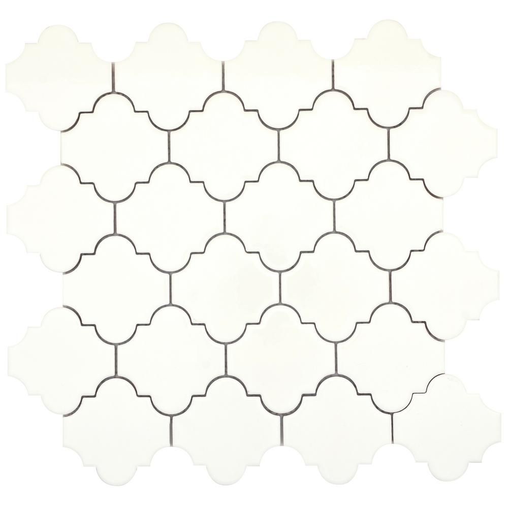 Emser Vogue Biscuit Lantern Glossy 11.97 in. x 12.24 in. x 8 mm Ceramic Mesh-Mounted Mosaic Tile (1.02 sq. ft.)