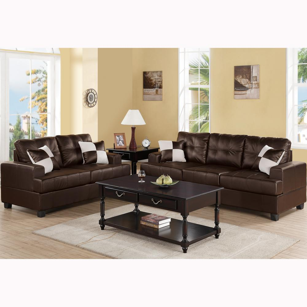 Venetian Worldwide Espresso Brown Sofa Set Bonded Leather