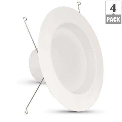 75W Equivalent Warm White 5/6 in. White Baffle-Trim Recessed Retrofit Downlight Dimmable LED Module (Case of 4)