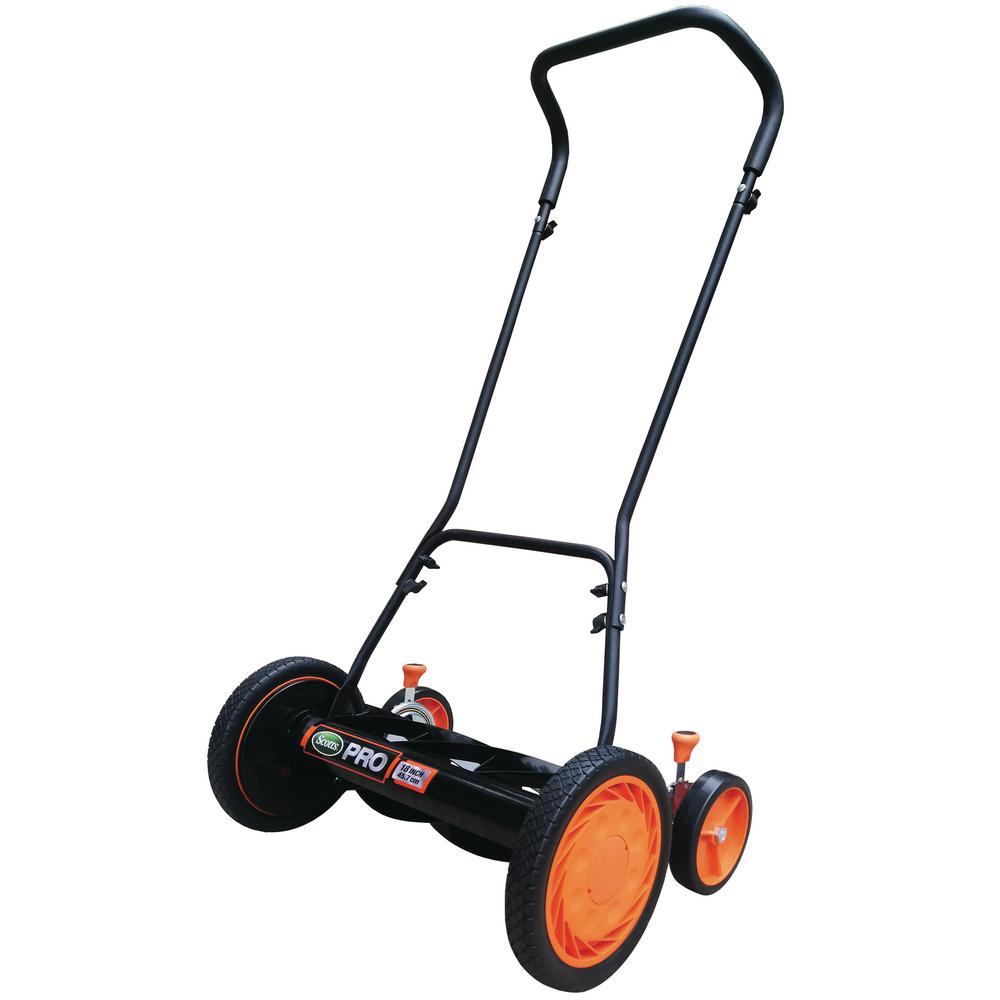 18 in. Manual 7-Blade Push Walk Behind Reel Lawn Mower