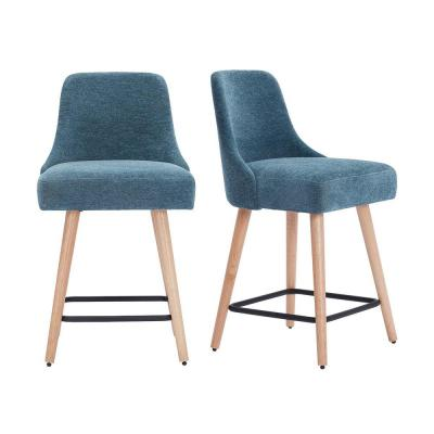 Benfield Natural Wood Upholstered Counter Stool with Charleston Blue Seat (Set of 2) (19.48 in. W x 36.02 in. H)
