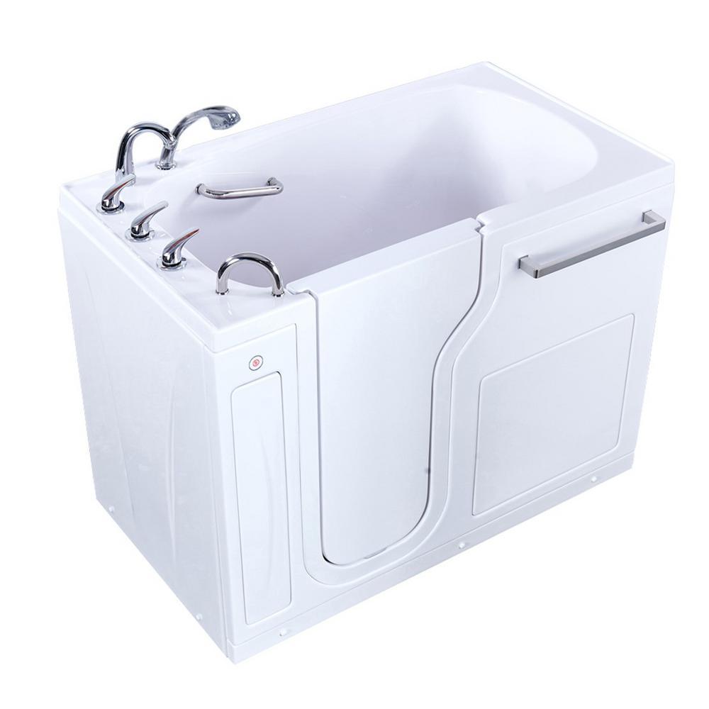 52 in. Acrylic Walk-In Soaking Bathtub in White w/ Left Door, Heated Seat, Fast Fill 3/4 in. Faucet, 2 in. Left Drain