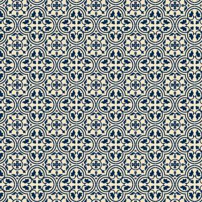 Quad European Design  2ft x 3ft Blue & White Indoor/Outdoor vinyl rug.
