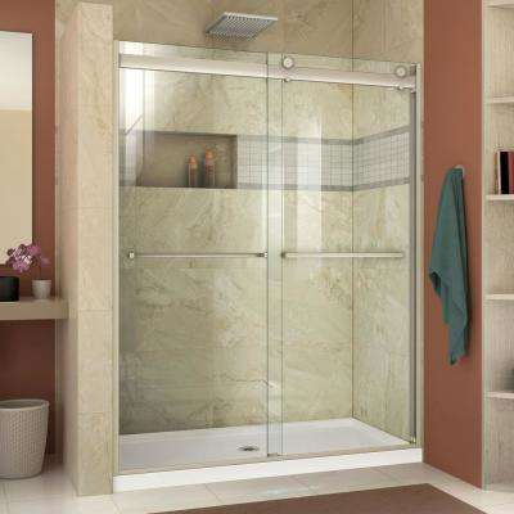 Essence-H 56 in. - 60 in. x 76 in. Semi-Frameless Bypass Shower Door in Brushed Nickel