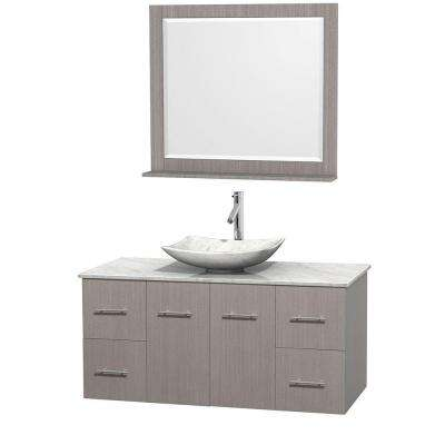 Centra 48 in. Vanity in Gray Oak with Marble Vanity Top in Carrara White, Marble Sink and 36 in. Mirror