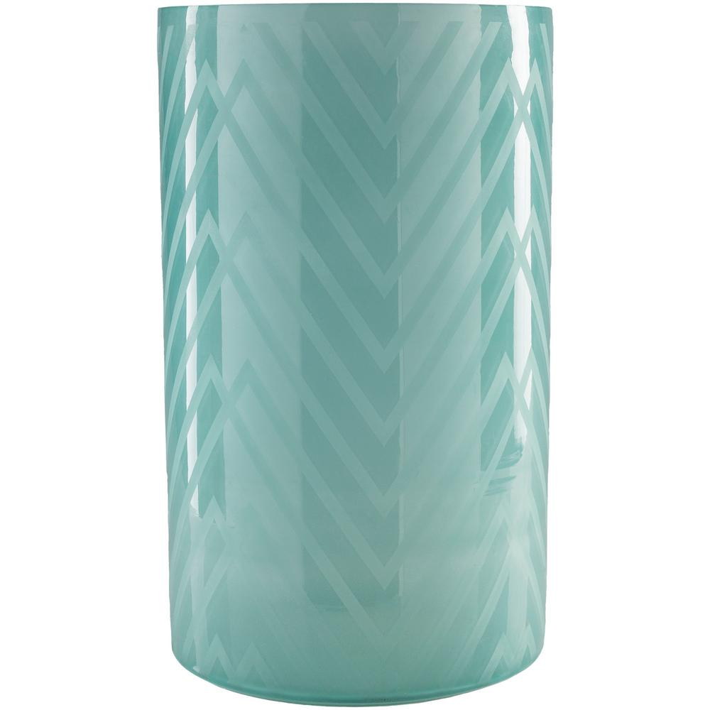Ooldo 17.5 in. Teal Glass Candle Holder