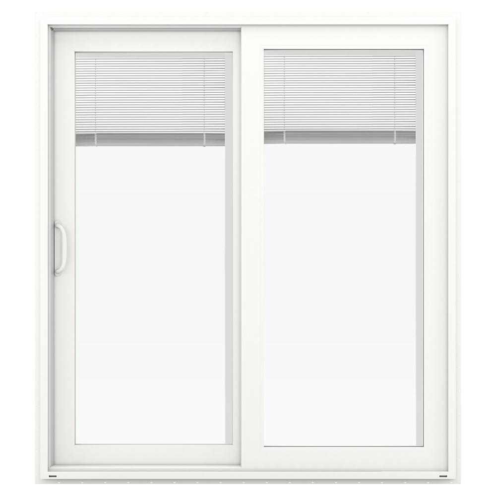 JELD WEN 72 In. X 80 In. V 4500 White Prehung Left Hand Sliding French Vinyl  Patio Door With Blinds THDJW155900243   The Home Depot