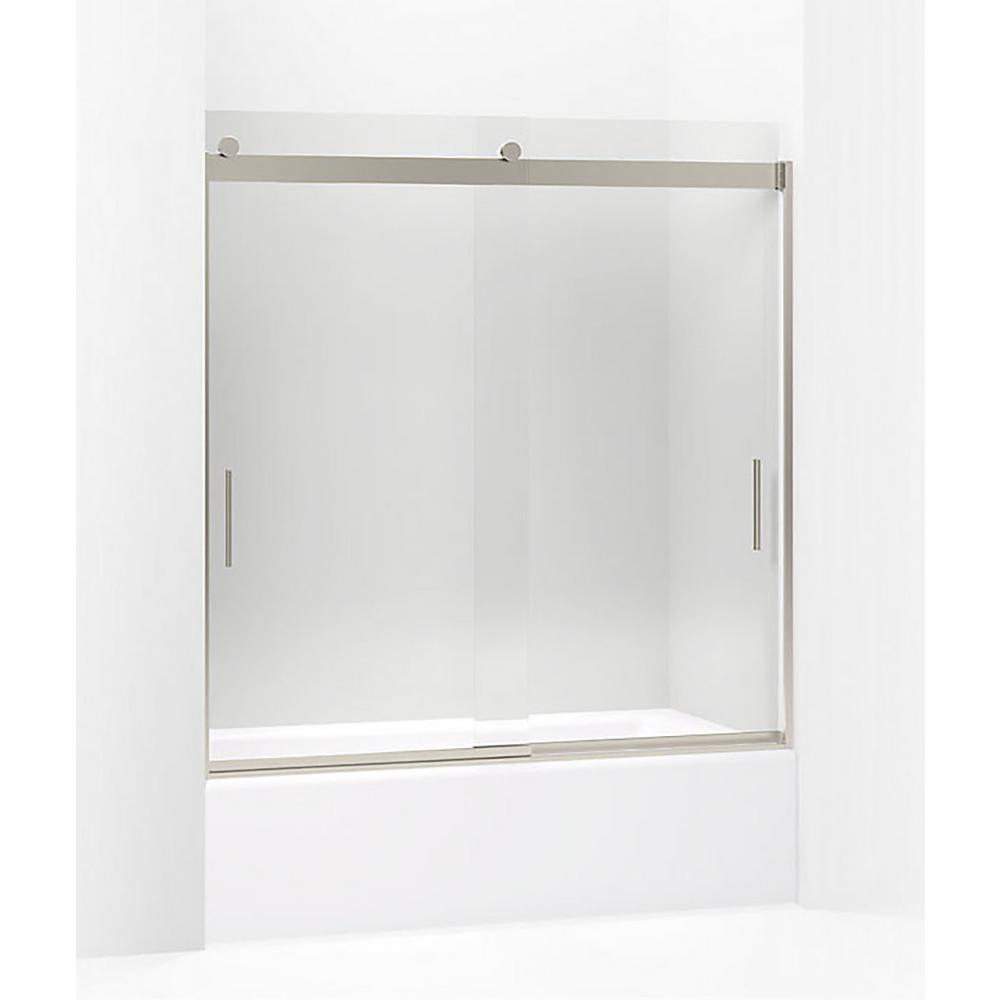 Levity 59.625 in. W x 62 in. H Frameless Sliding Shower Door in Brushed Nickel