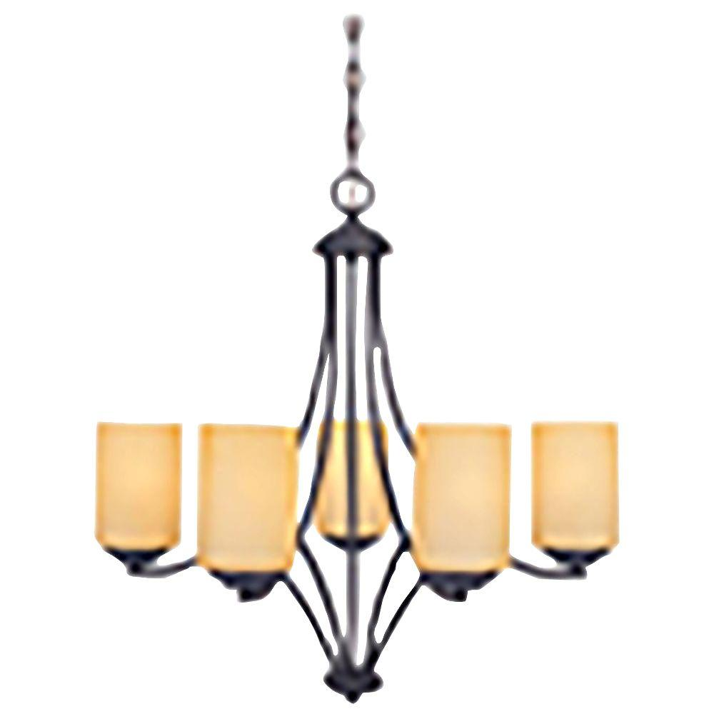 Marbella 5-Light Oil Rubbed Bronze Chandelier with Satin Bisque Glass Shades
