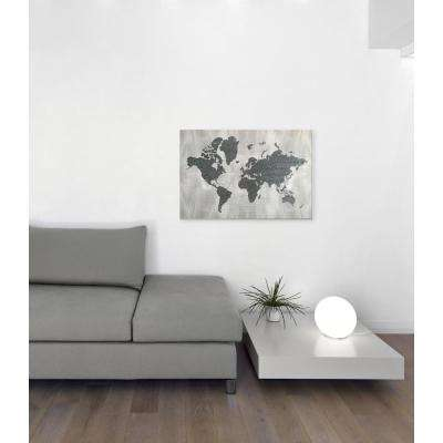 "36 in. x 24 in. ""The World in Silver"" by Wynwood Studio Framed Printed Canvas Wall Art"
