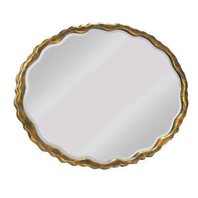 Aime Scalloped Oval Distressed Gold Mirror