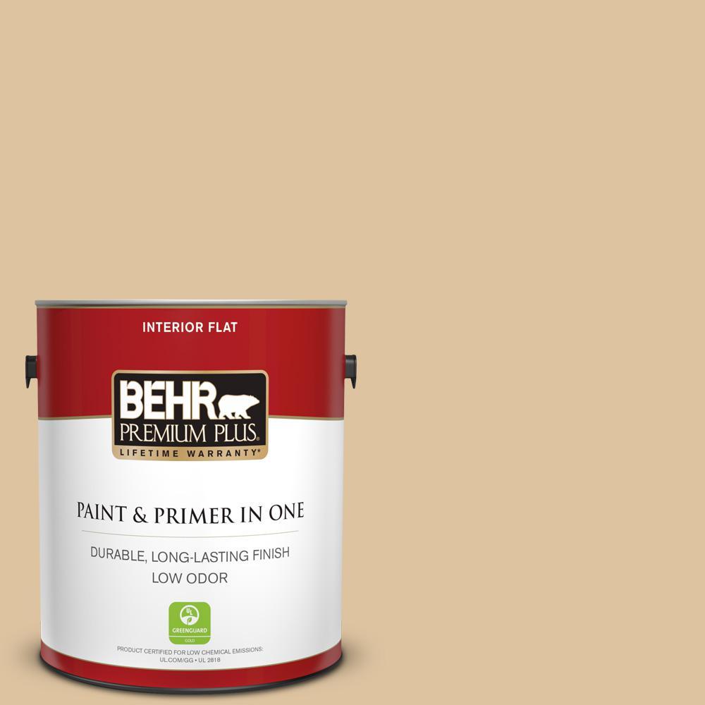 BEHR Premium Plus 1 gal  #ECC-13-1 Canoe Flat Low Odor Interior Paint and  Primer in One