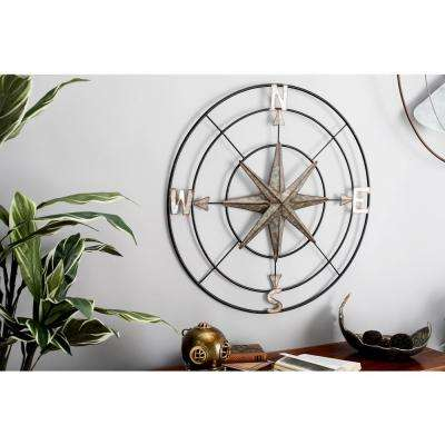Iron Rusted Gray Compass Metal Work