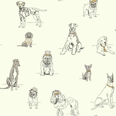 Dog's Life Wallpaper silver/metallic Gold Paper Strippable Roll (Covers 56 sq. ft.)