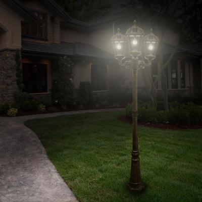 Royal Bulb Series 3-Head Weathered Bronze Integrated LED Outdoor Solar Lamp Post with the GS Solar LED Light Bulb