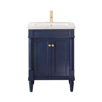Product Width 24 in. Bath Vanity in Blue with Ceramic Vanity Top in White with White Basin
