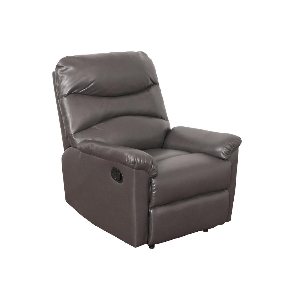 Luke Brownish-Grey Bonded Leather Recliner