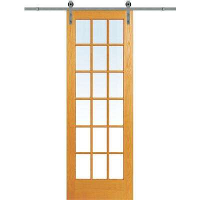 36 x 96 barn doors interior closet doors the home depot 36 in x 96 in clear true divided 18 lite unfinished pine single barn eventshaper