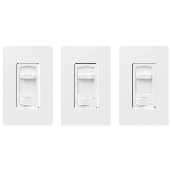 Skylark Contour LED+ Dimmer Switch for Dimmable LED, INC/HAL Bulbs, Single-Pole or 3-Way, w/ Wallplate White (3-Pack)