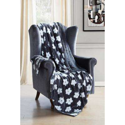 Lynnia Grey Floral Throw