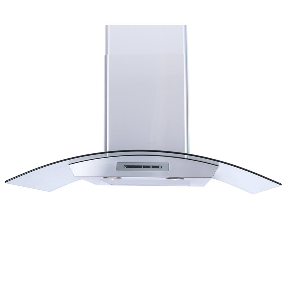 Windster 30 In Wall Mount Range Hood Stainless Steel With Tempered Gl Canopy