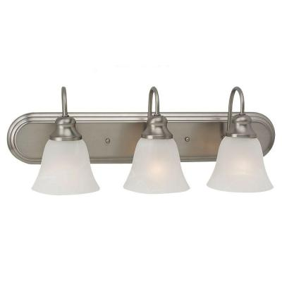 Windgate 24.25 in. W 3-Light Brushed Nickel Vanity Fixture with Alabaster Glass Shades