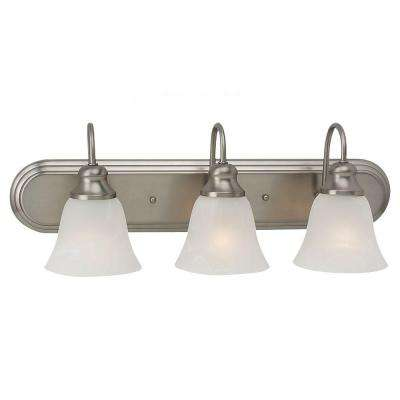 Windgate 24.25 in. W 3-Light Brushed Nickel Vanity Fixture with Alabaster Glass