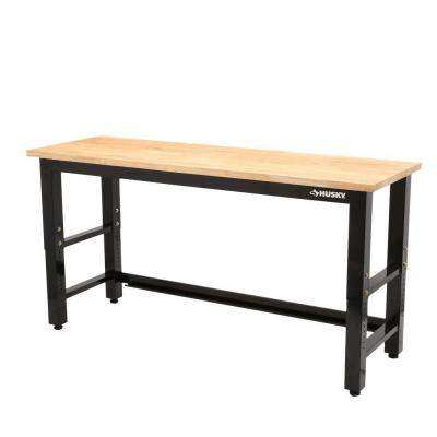 6 ft. Adjustable Height Solid Wood Top Workbench