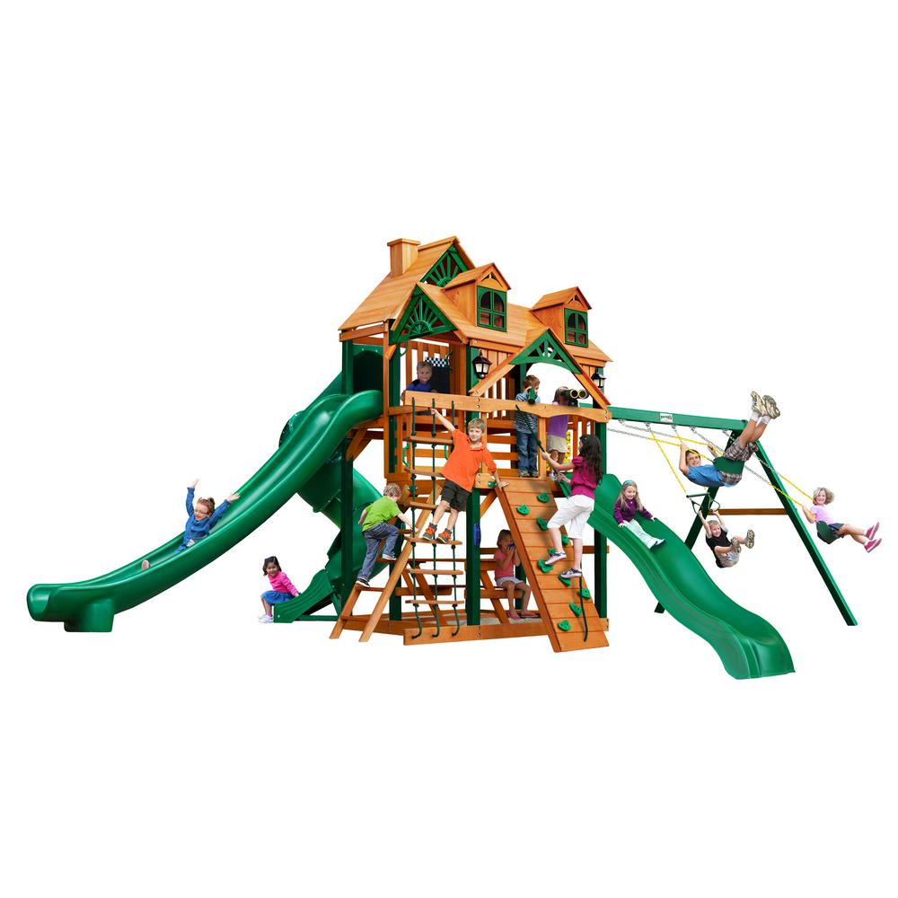 Gorilla Playsets Malibu Deluxe II Cedar Swing Set with Timber ...