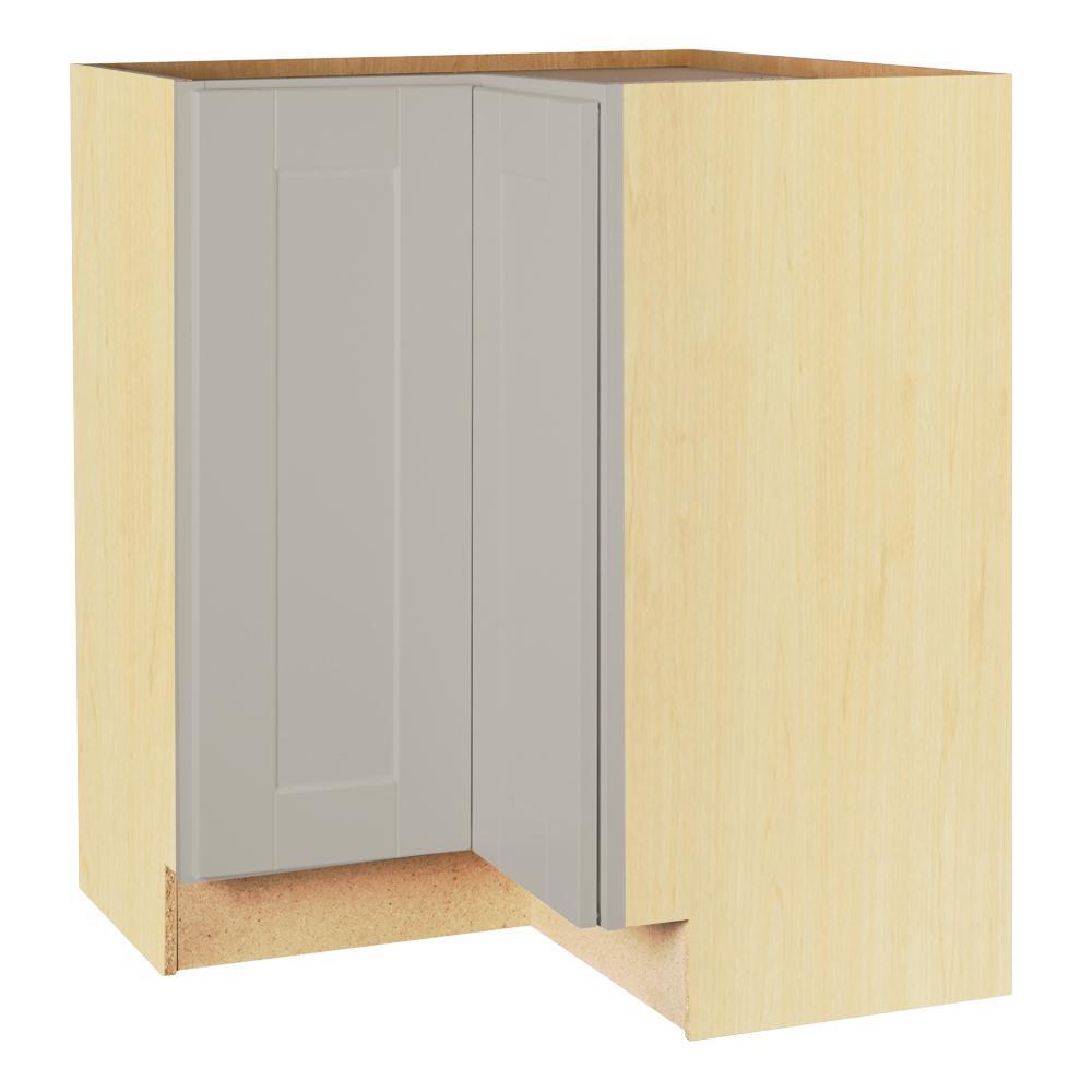 Hampton Bay Shaker Assembled 28.5x34.5x16.5 in. Lazy Susan Corner Base Kitchen Cabinet in Dove Gray