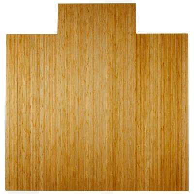 Deluxe Natural Light Brown 55 in. x 57 in. Bamboo Roll-Up Office Chair Mat with Lip