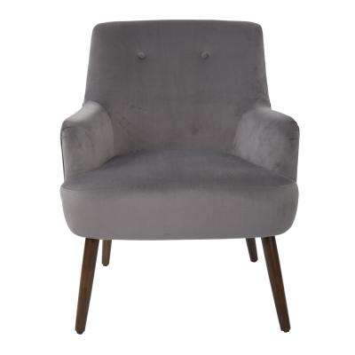 Chatou Charcoal Fabric Chair with Cordovan Legs