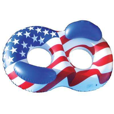 65 in. x 45 in. Stars and Stripes Americana Side By Side Double Ring Pool Float