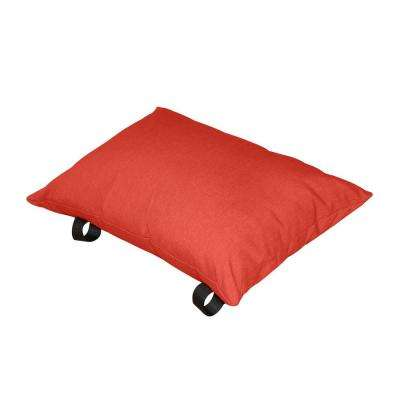 Polyester Cherry Red Solid Lumbar Outdoor Throw Pillow