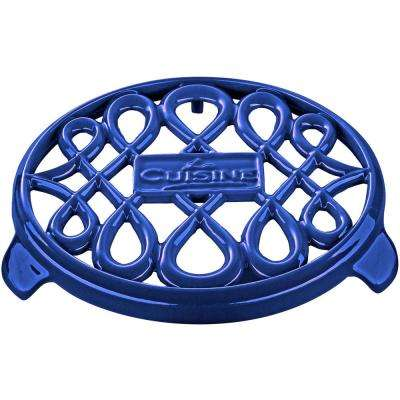 7 in. Round Cast Iron Trivet in High Gloss Sapphire
