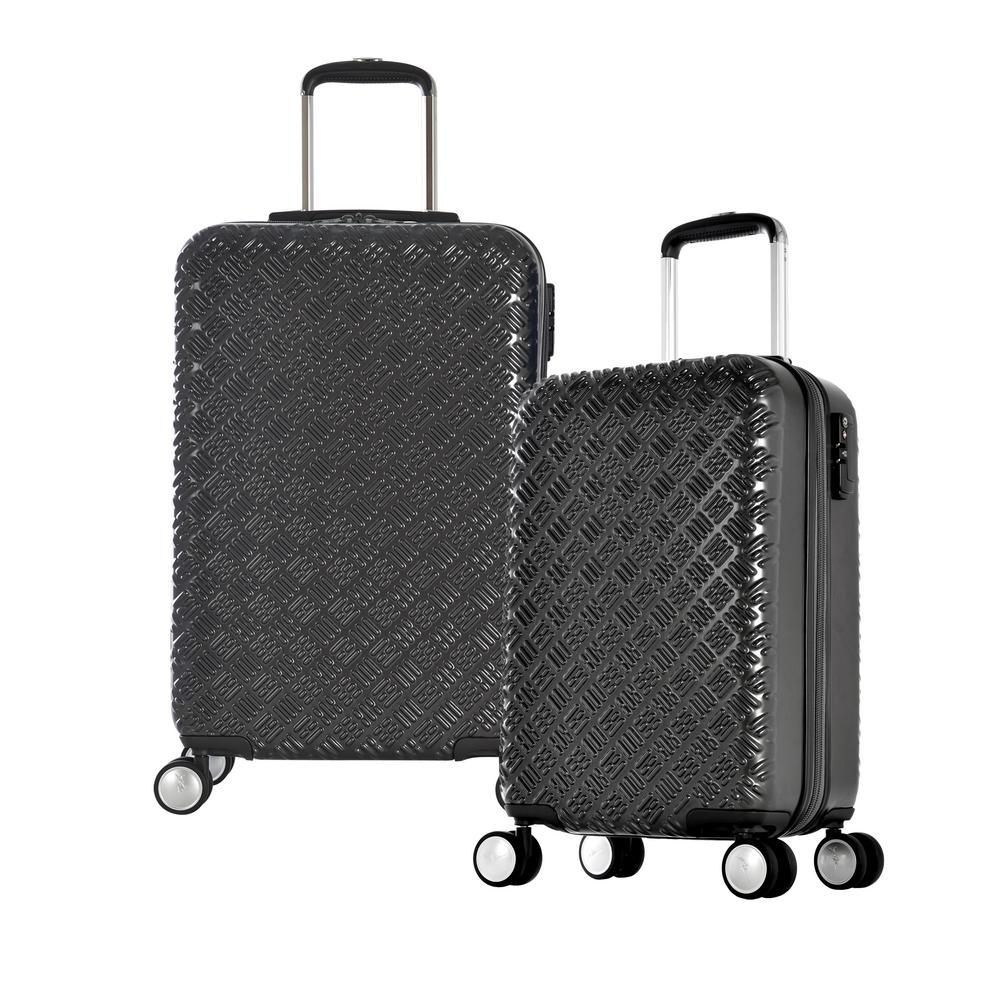 T Line Gon 2-Piece Black PC Luggage Set with TSA Lock