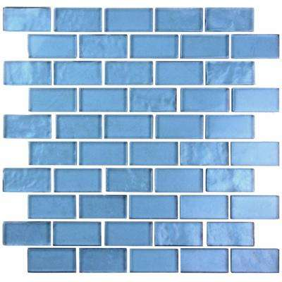 Landscape Blue Translucent 10.75 in. x 10.125 in. x 6.35mm Glass Mosaic Tile