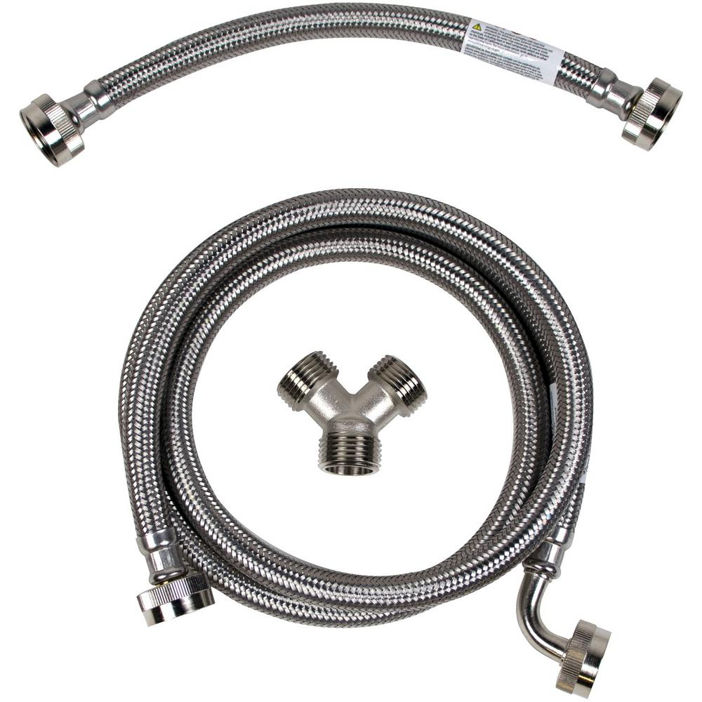 CERTIFIED APPLIANCE ACCESSORIES 5 ft. Braided Stainless Steel Steam Dryer Installation Kit with Elbow, Silver For years, licensed plumbers, electricians and appliance installers have relied on CERTIFIED APPLIANCE ACCESSORIES for their power cords, hoses and connectors. Now you can too. Enjoy the convenience offered by this steam dryer installation kit from CERTIFIED APPLIANCE ACCESSORIES. This high-quality kit includes a fill hose, inlet adapter and Y-connector to ensure a flexible, durable and reliable connection for your next home installation project. This kits components have been thoroughly tested and are backed by a 5-year limited warranty. Always consult your appliances installation instructions. Check your appliance's manual for the correct specifications to ensure this kit is right for you. Thank you for choosing CERTIFIED APPLIANCE ACCESSORIES Your Appliance Connection Solution. Color: Stainless Steel.