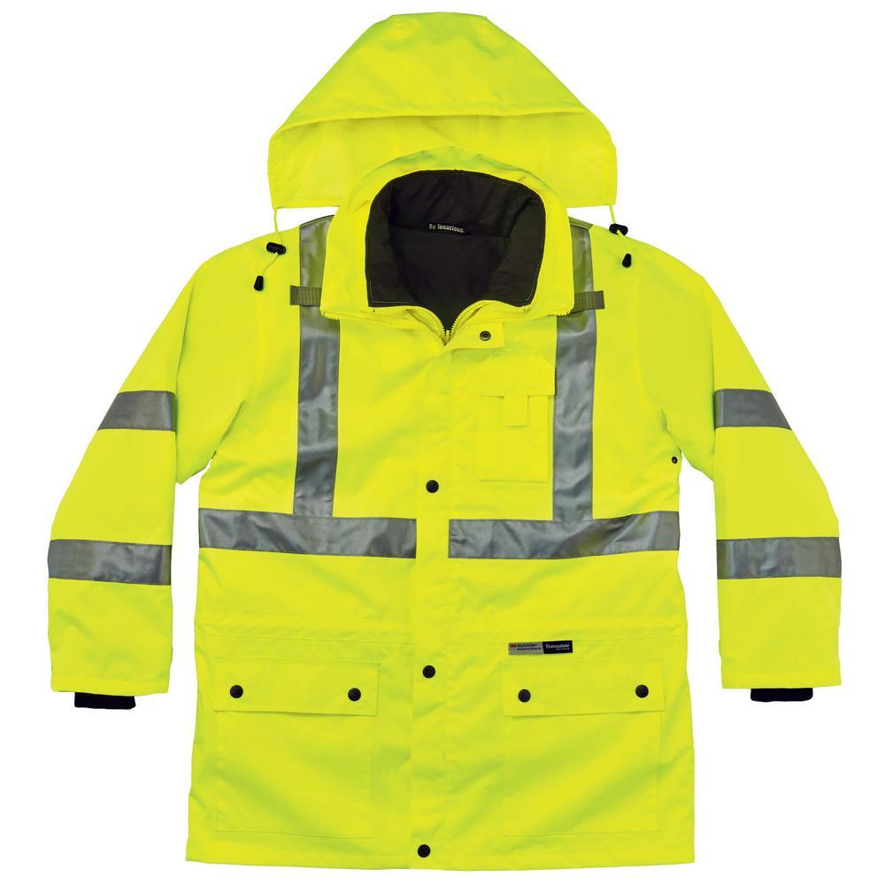 Ergodyne GloWear 8386 High Visibility Reflective Outer Rain Shell Jacket Medium Lime
