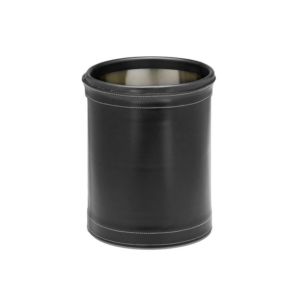 Kraftware Stitched Black 8 Qt. Round Waste Basket 68748