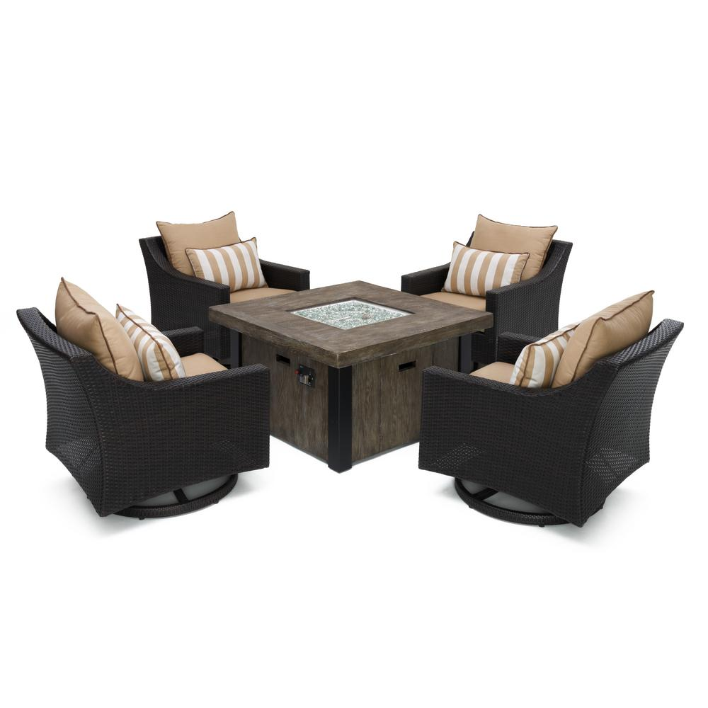 rst brands deco motion 5 piece wicker patio fire pit conversation set with sunbrella maxim beige. Black Bedroom Furniture Sets. Home Design Ideas