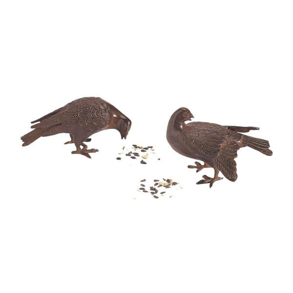 Pair of Bronzed Doves Figurines, 5 in. Tall Rustic Bronze Painted Finish