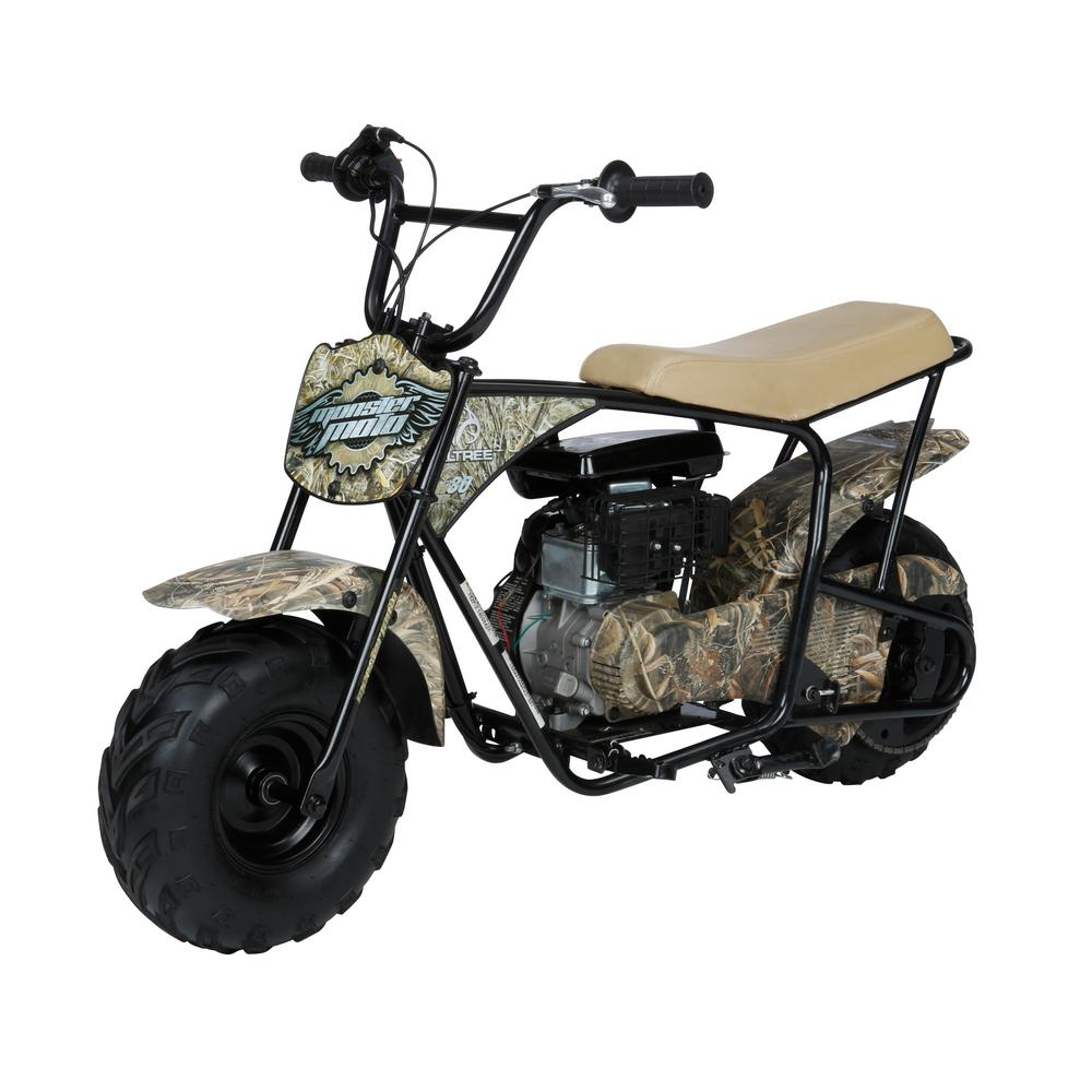 monster moto real tree camo 80cc gasoline youth mini bike mm b80rt the home depot. Black Bedroom Furniture Sets. Home Design Ideas