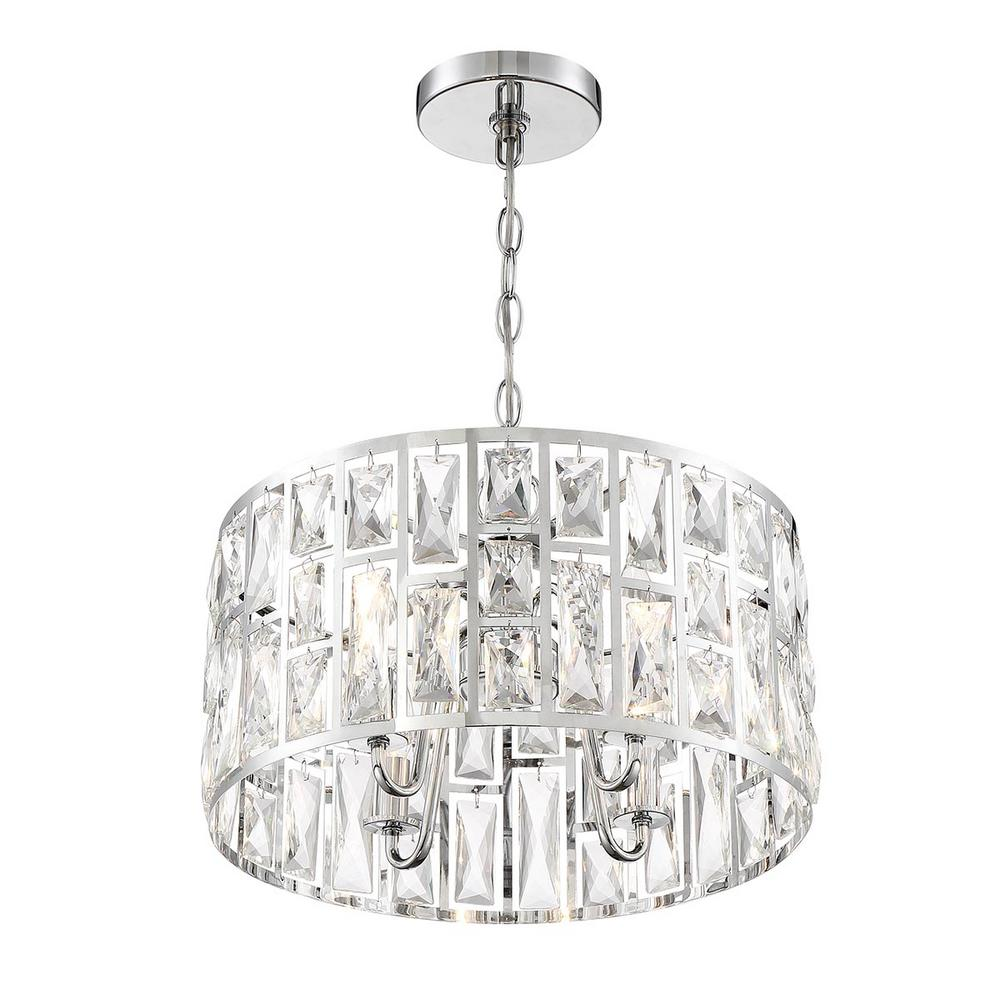 Home Decorators Collection Kristella 4-Light Chrome Chandelier with Clear Crystal Shade