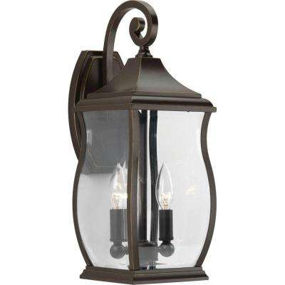 Township Collection 2-Light Oil Rubbed Bronze 17.5 in. Outdoor Wall Lantern Sconce