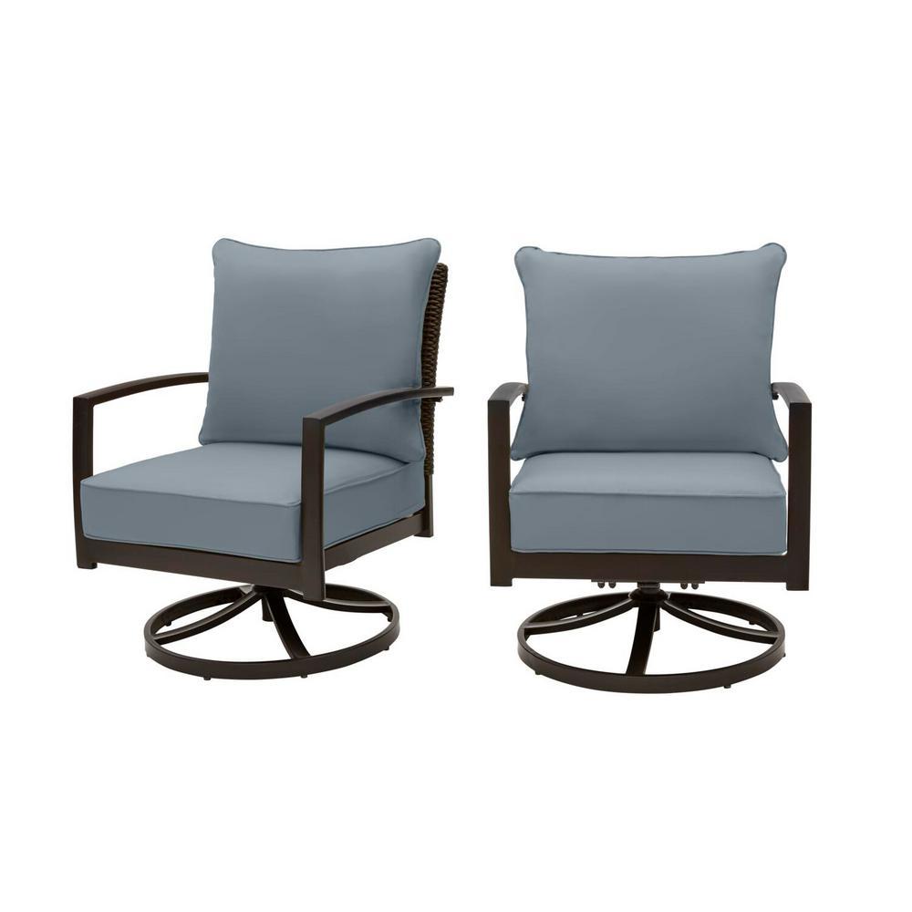 Whitfield Dark Brown Wicker Outdoor Patio Motion Conversation Chair with Sunbrella Denim Blue Cushions (2-Pack)