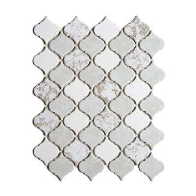 Tessen Mystic 10-3/8 in. x 13 in. x 6.35 mm White Porcelain Mosaic Wall Tile (9.37 sq. ft. / case)