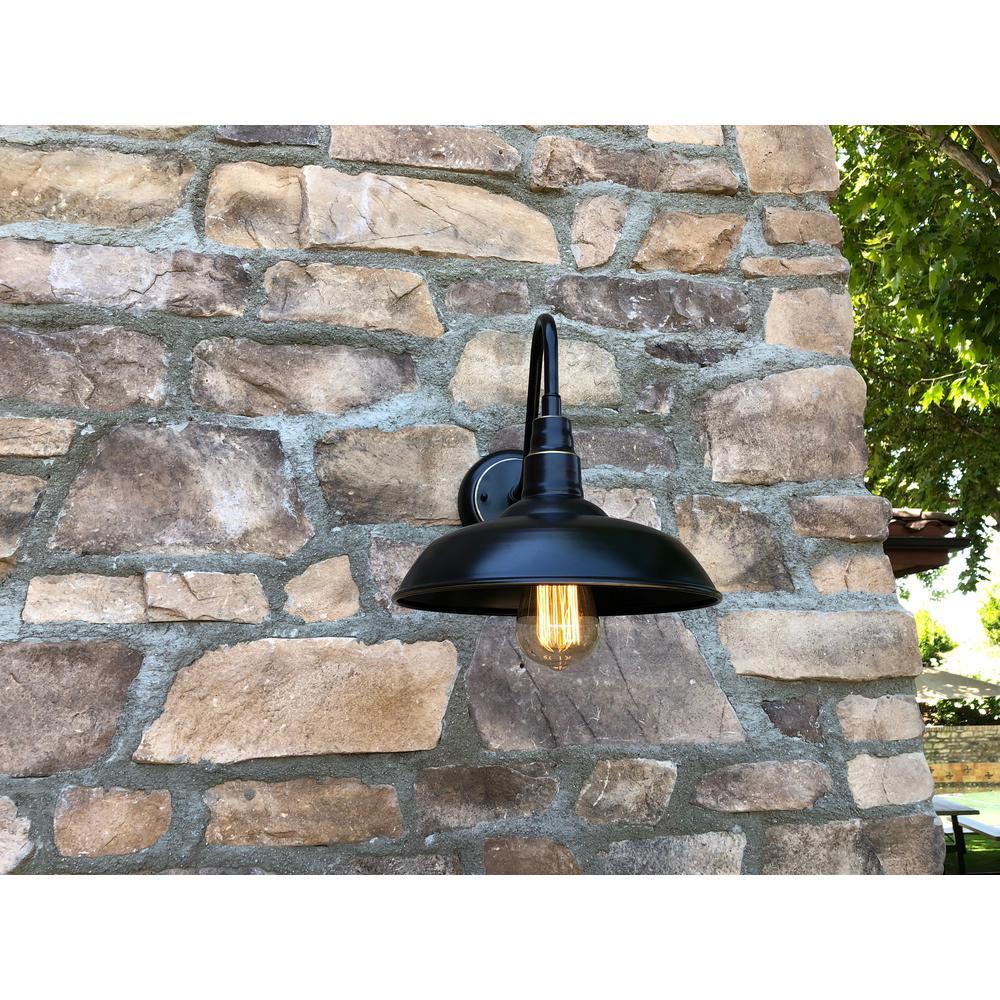 Lora 1-Light Black Outdoor Wall Barn Light Sconce