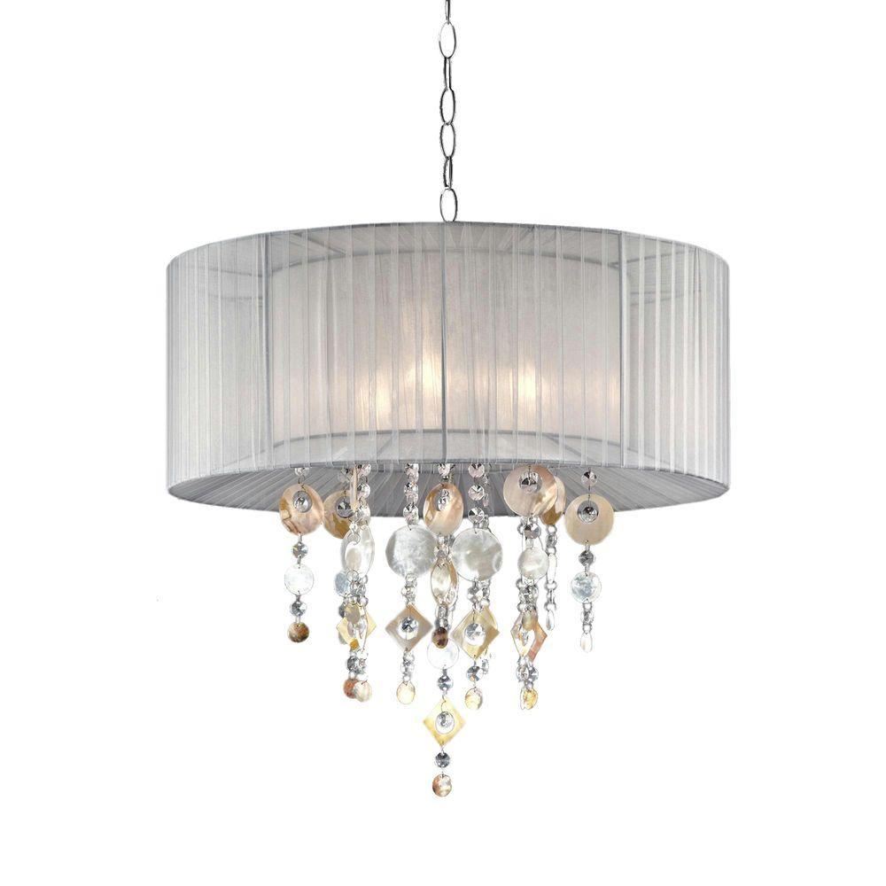ORE International Moon Jewel 3-Light White Ceiling Lamp-K